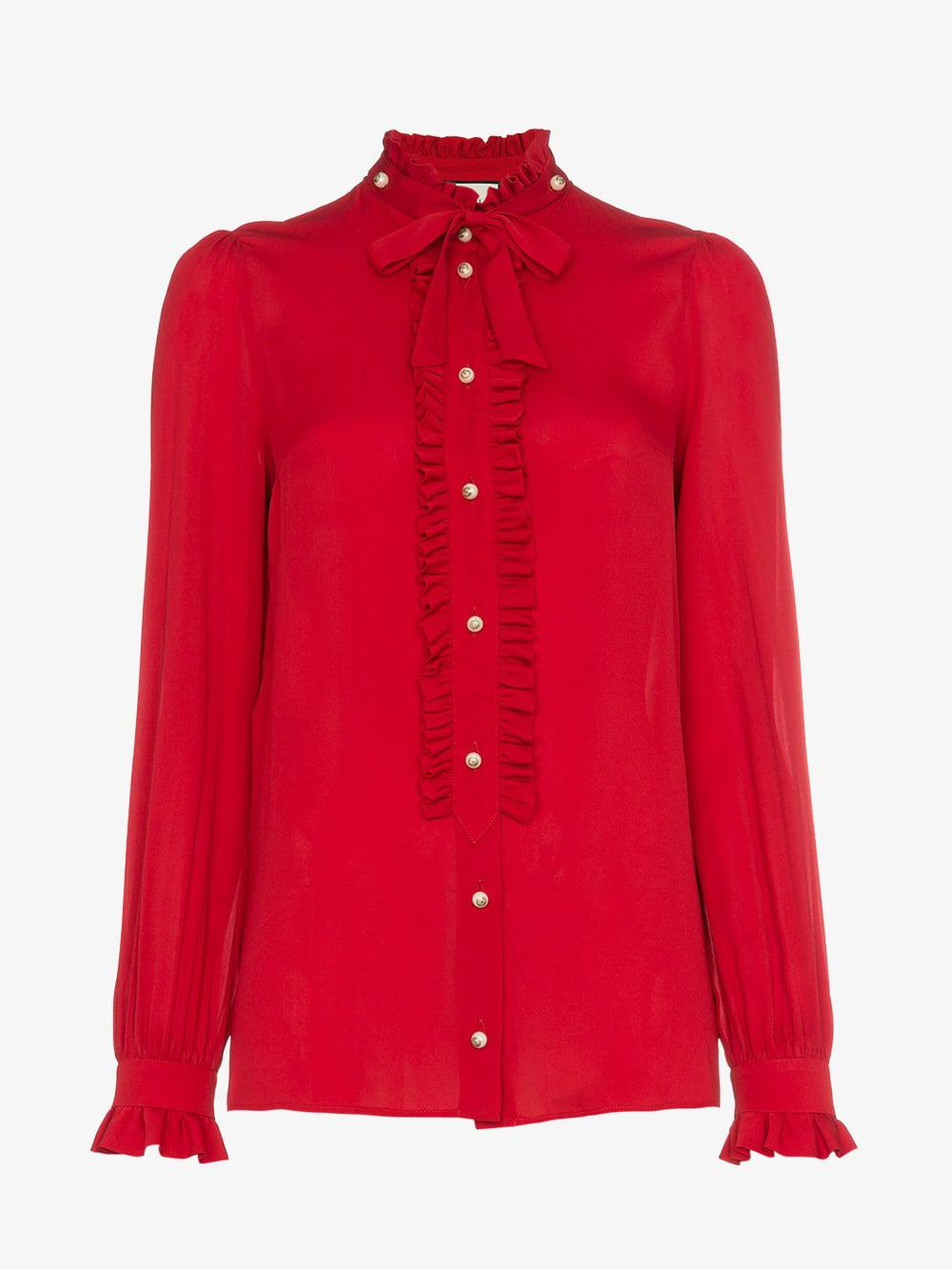 55ac63c7d7c84 Gucci Silk Ruffle Front Blouse in Red - Lyst