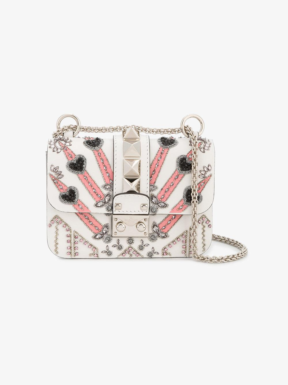 52c3f53b649 Valentino Garavani Loveblade Lock Shoulder Bag in White - Lyst