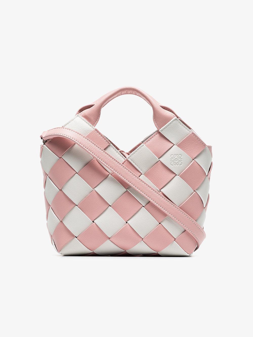 pink and white woven basket gingham mini leather bag Loewe jeoAQlRoJ