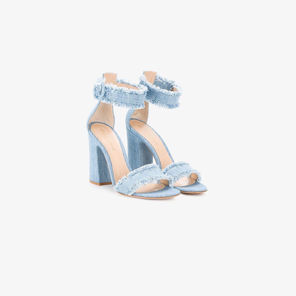 Gianvito Rossi Kiki Frayed Denim Sandals In Blue Lyst