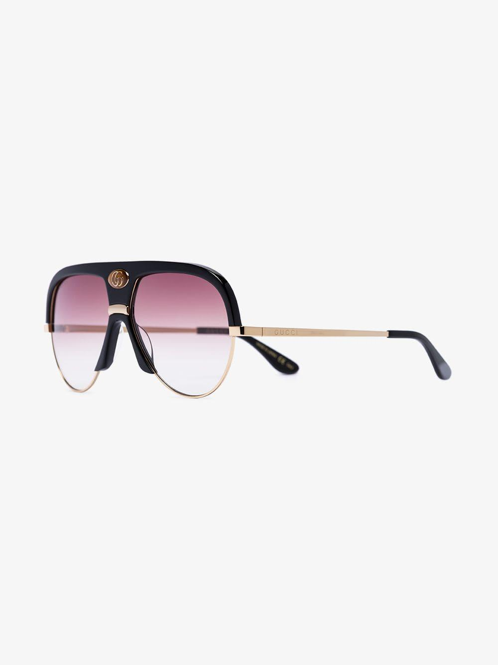 17dbed79685ee Gucci Black And Pink Navigator Sunglasses in Black for Men - Lyst