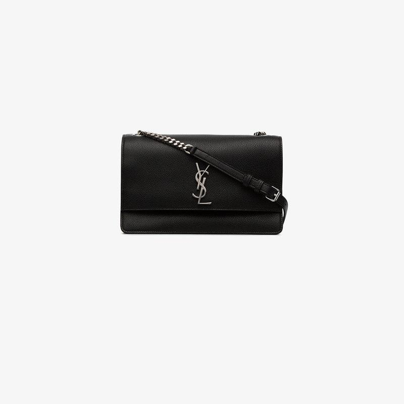 8310c86a83ed Lyst - Saint Laurent Monogram Sunset Medium Leather Satchel in Black