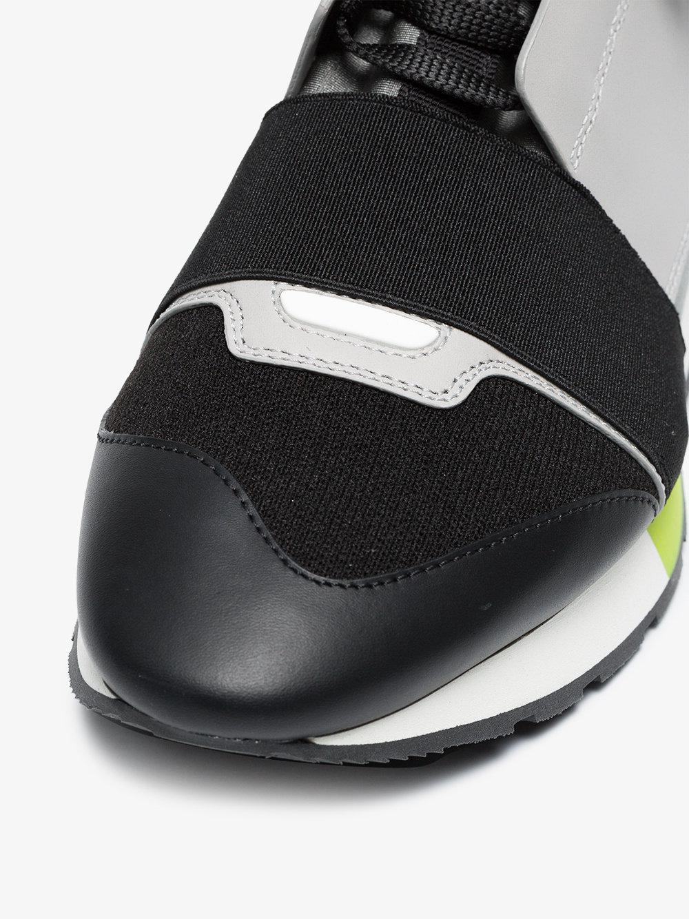 Black, Grey and Neon Race Runner Leather Sneakers Balenciaga