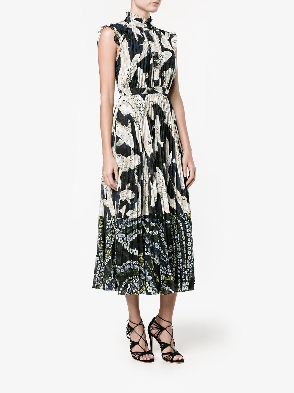 Erdem koi fish print dress in black lyst for Koi fish dress