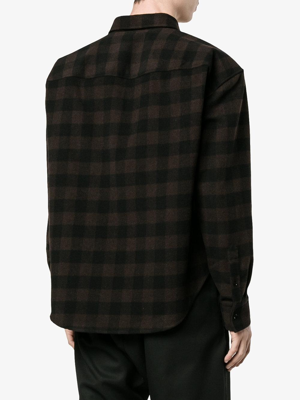 Lyst balenciaga check flannel shirt men polyamide for Polyester lined flannel shirts