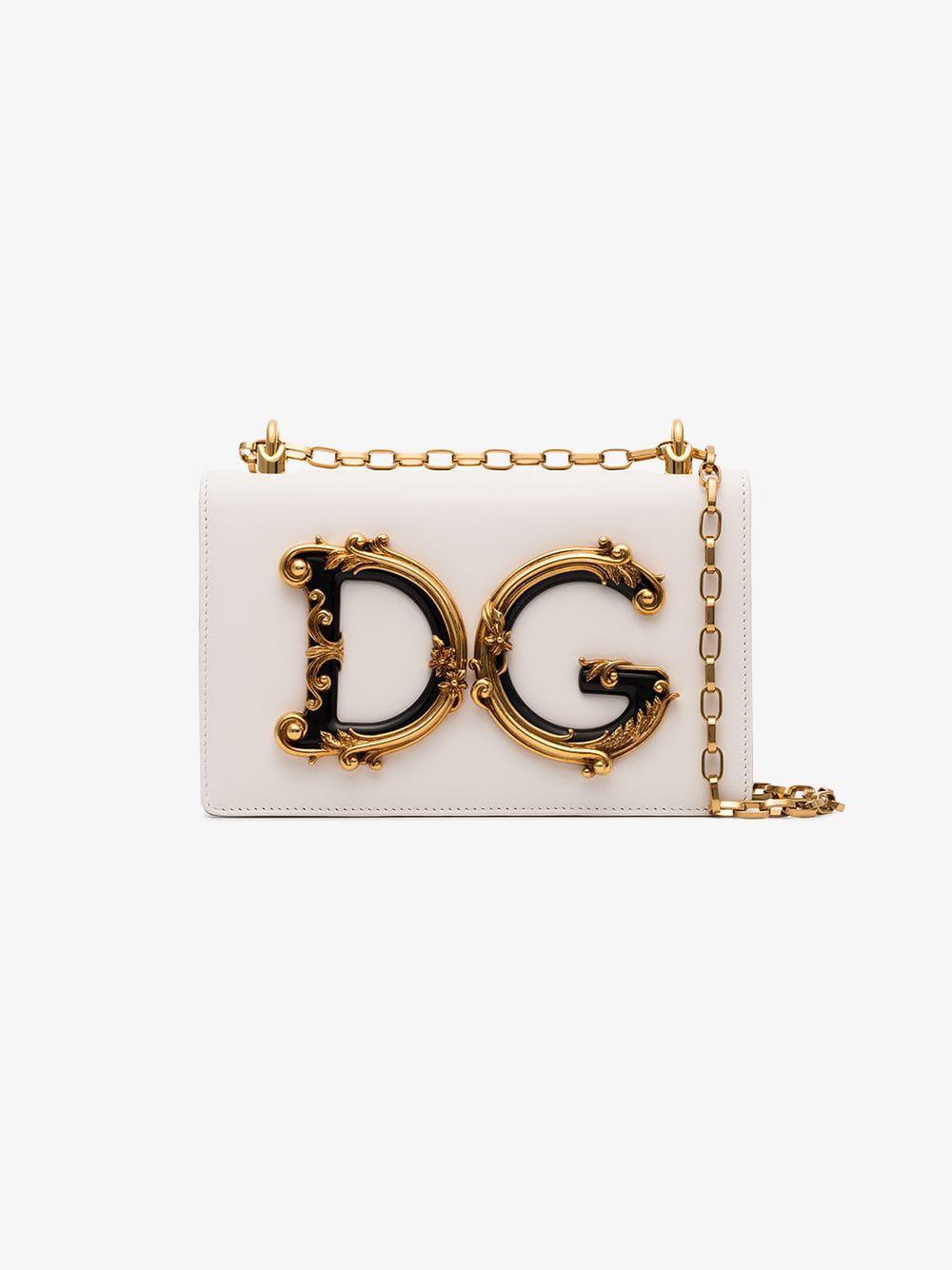 ea1f77ce4e56 Dolce   Gabbana - White Baroque Dg Logo Shoulder Bag - Lyst. View fullscreen