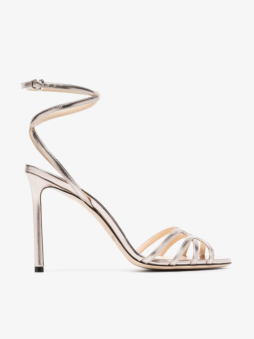 89c4a7827cf Jimmy Choo Mimi 100 Sandals in Metallic - Lyst