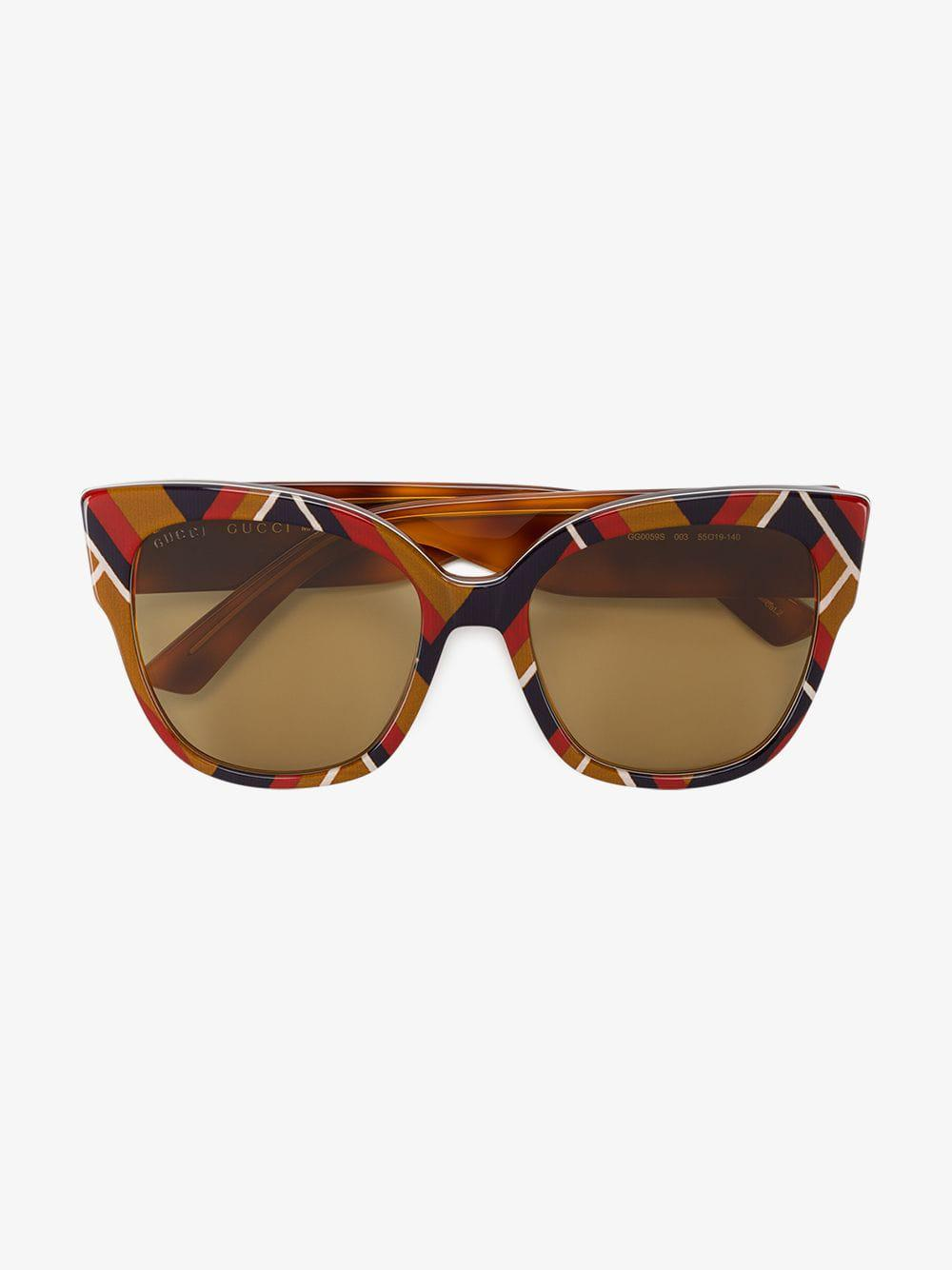 7c838a8ba66 Gucci - Ladies Brown Chevron Square-frame Sunglasses - Lyst. View fullscreen