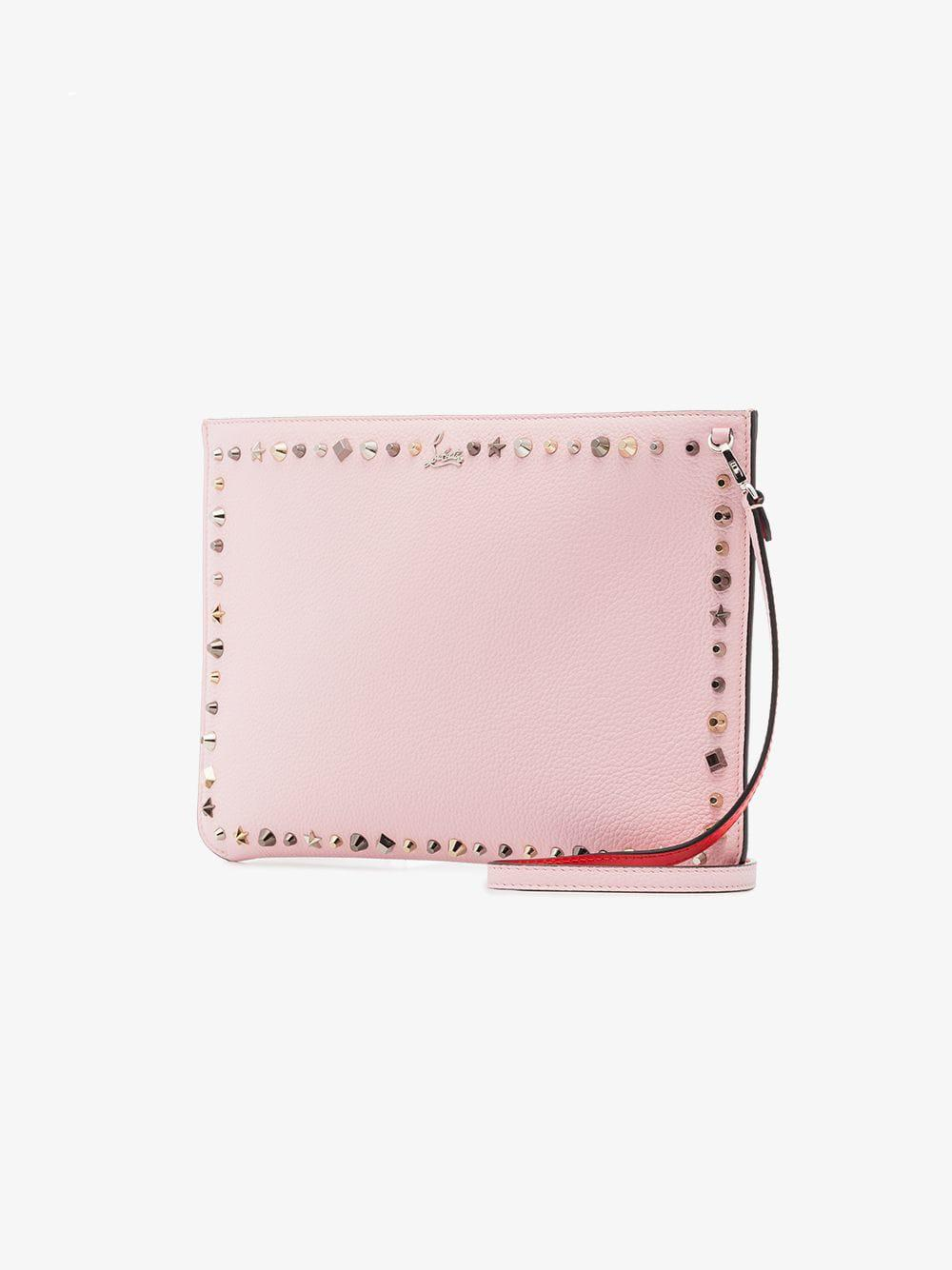 c897c584cf12 Christian Louboutin - Pink Empire Spike Embellished Leather Clutch - Lyst.  View fullscreen