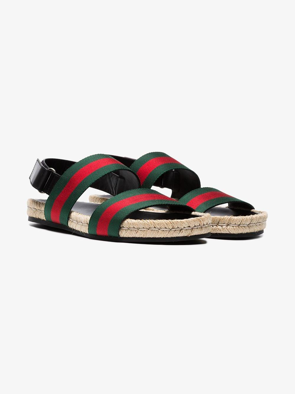 14bc100b090 Lyst - Gucci Green And Red Web Sandals in Green for Men