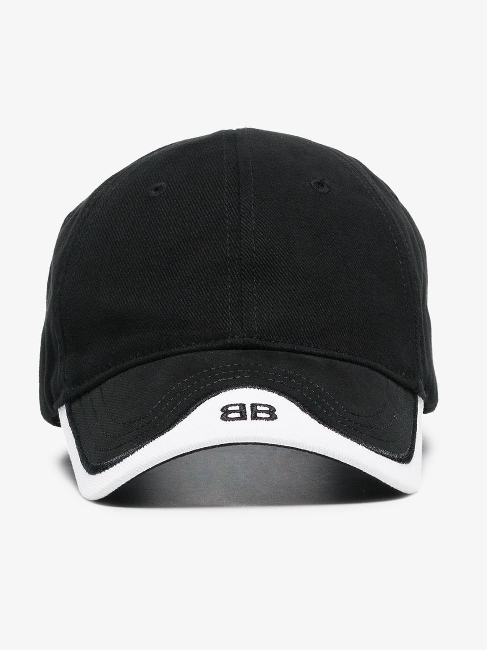 Balenciaga Black Bb Logo Cotton Peak Cap in Black for Men - Save 22 ... 06045f2451a4