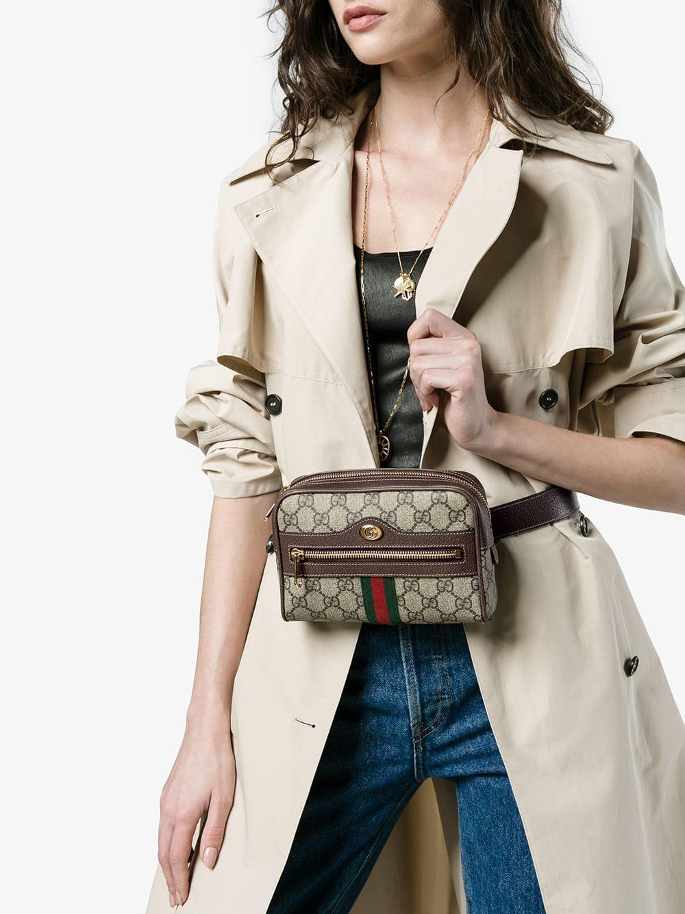 937b28afa257 Gucci Brown Ophidia GG Supreme Small Belt Bag in Brown - Save 15% - Lyst