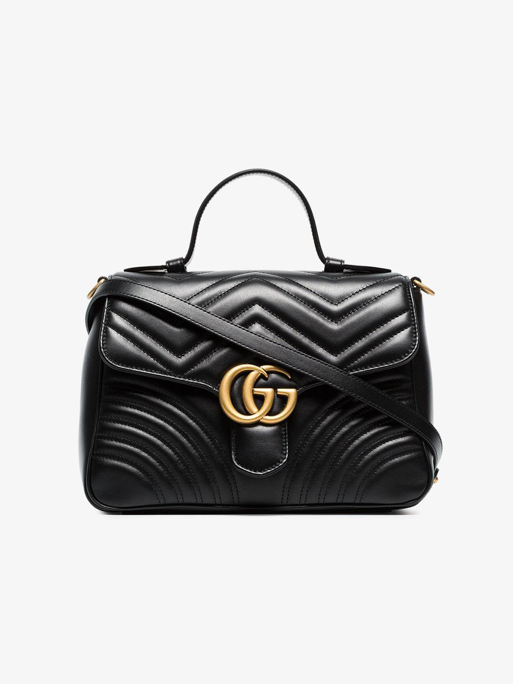 afd127ca5866c3 Gucci Black GG Marmont Small Top Handle Bag in Black - Save 2% - Lyst