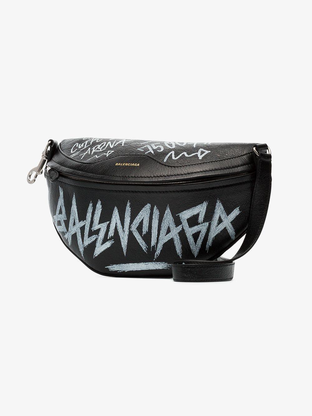 Lyst - Balenciaga Black And White Souvenir Xs Graffiti Leather Belt ... ad2cb1a6e7ddd