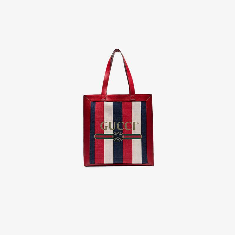 1f1ae9156c Gucci Print Medium Tote in Red for Men - Lyst