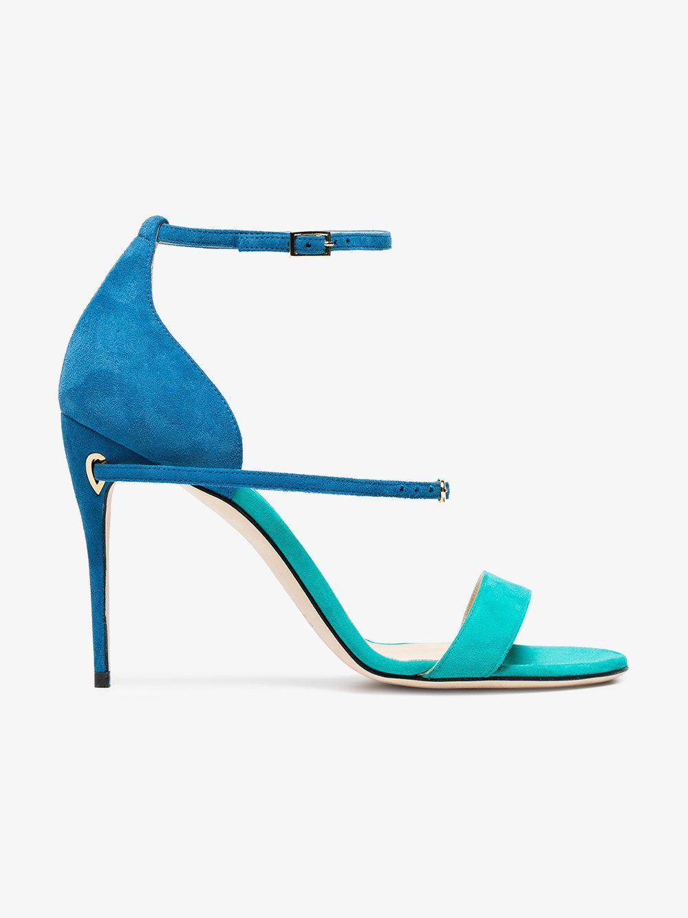 blue and green Rolando 105 suede sandals Jennifer Chamandi Y61fR5Q