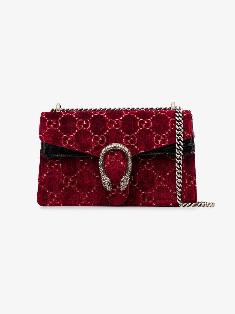 5af5b3755e68 Lyst - Gucci Red Dionysus GG Velvet Small Shoulder Bag in Red