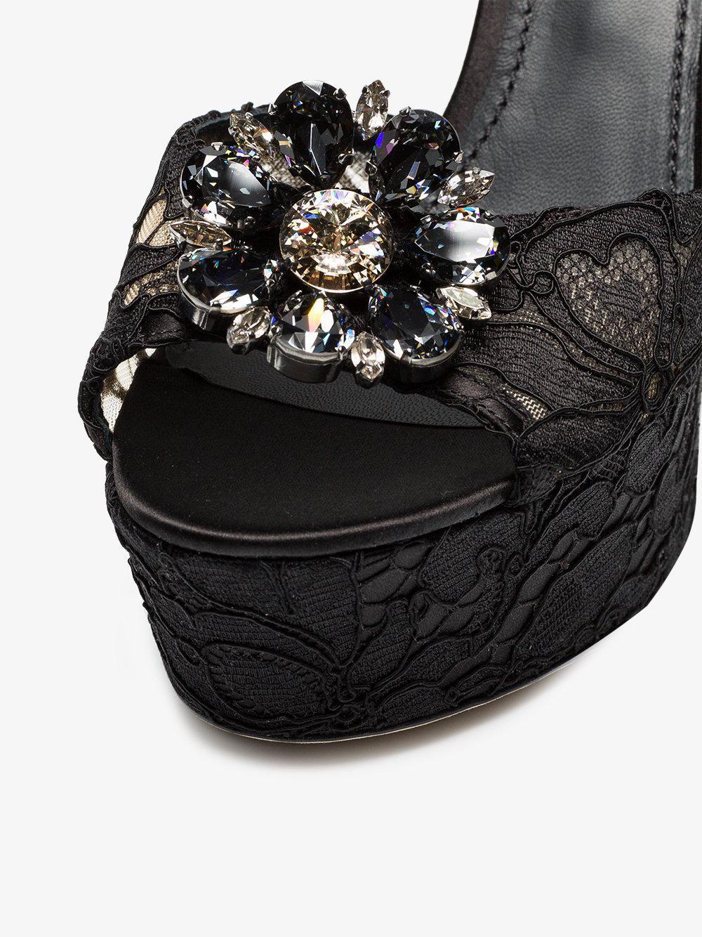 Dolce & Gabbana Keira 120 Dentelle Sandales Plateforme - Noir SDCKGy