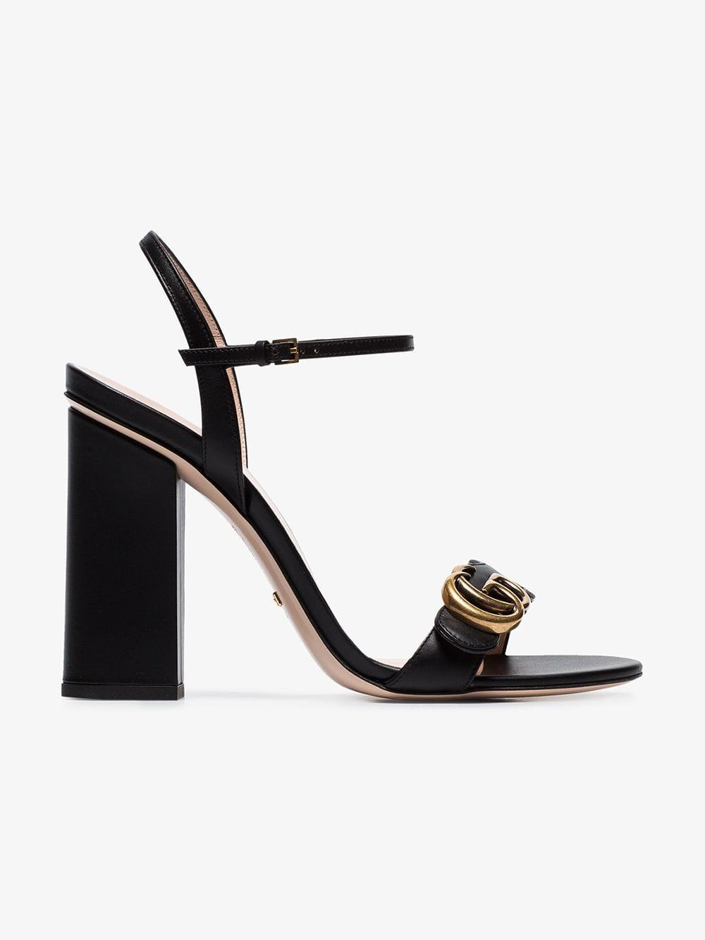e985793ac00 Gucci - Black Marmont 110 Chunky Heel Leather Sandals - Lyst. View  fullscreen