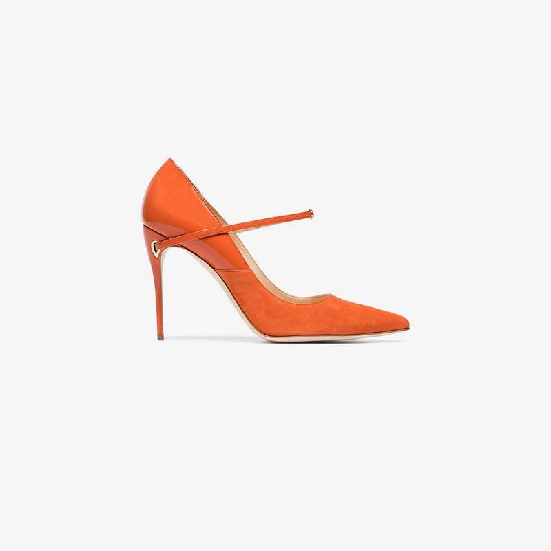 ba71c1fe14e Lyst - Jennifer Chamandi Orange Lorenzo 105 Leather Suede Pumps in ...