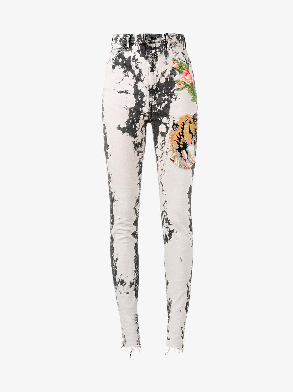 bleached embroidered skinny jeans Gucci ExyqQm