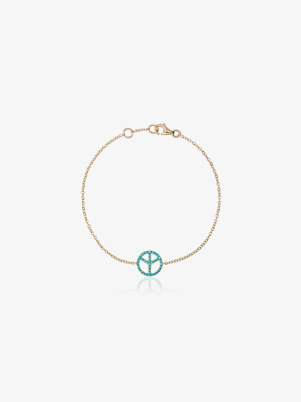 Rosa De La Cruz 18k gold bracelet with turquoise peace charm LQrugnuJ