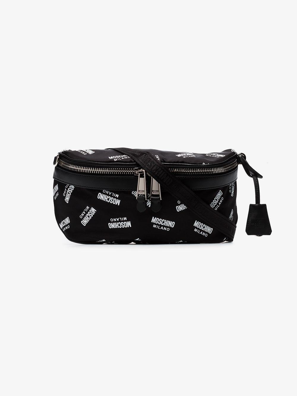 8ec0e1c79f69 Lyst - Moschino Black And White Logo Print Cross Body Bag in Black for Men  - Save 4%
