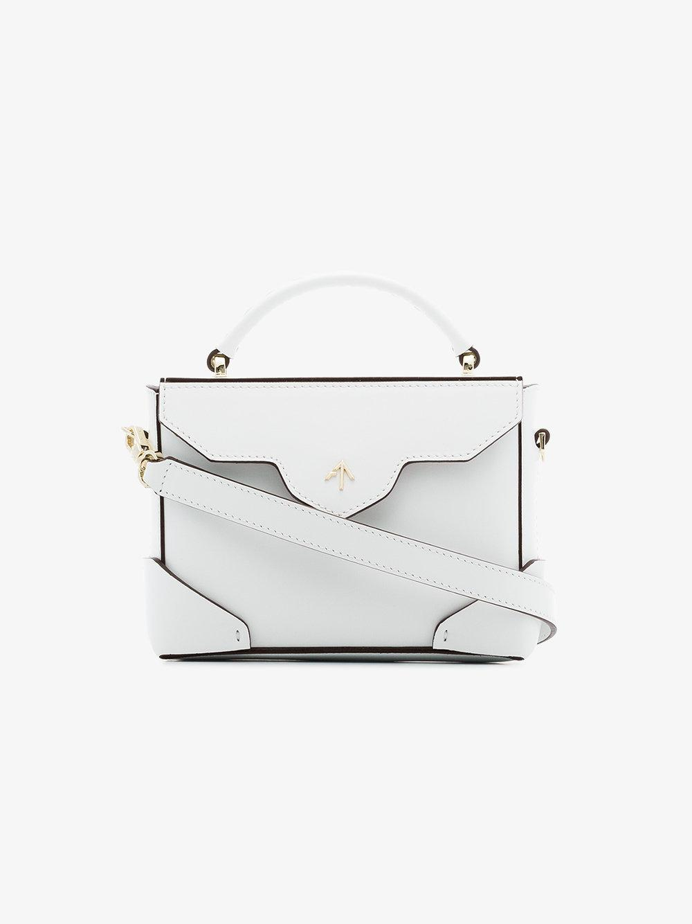 white Micro Bold leather cross-body bag Manu Atelier wpbG048s