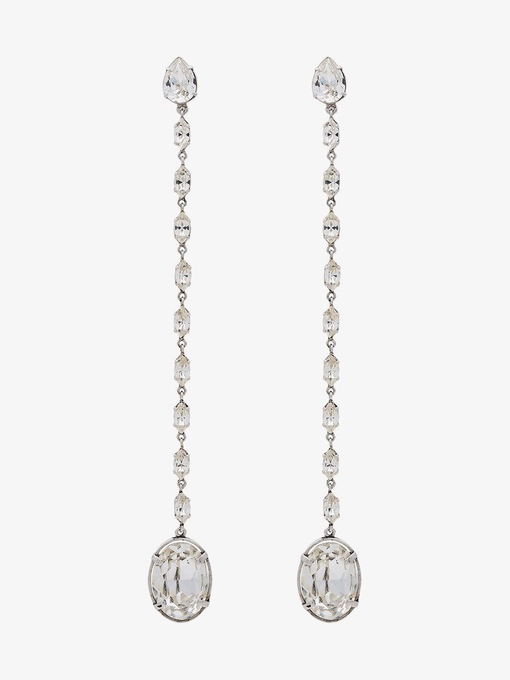 23918e911544 Lyst - Saint Laurent Smoking Crystal Chain Earrings in Metallic
