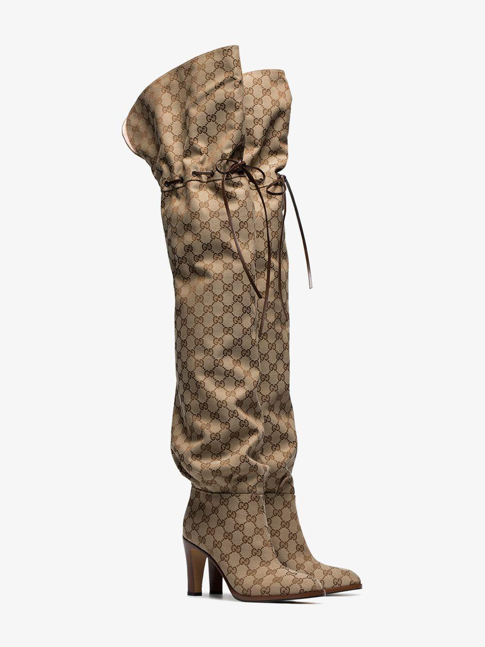 a55e38b4b Gucci Original GG 85 Canvas Over-the-knee Boot - Lyst