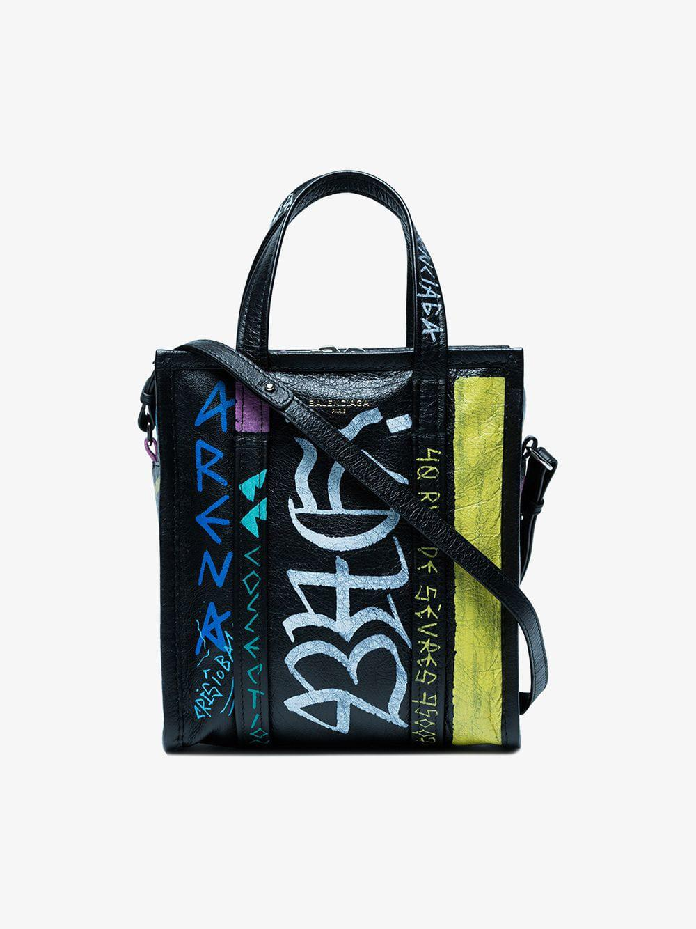 Lyst - Balenciaga Bazar Shopper Xs Graffiti Tote in Black - Save 6% 75c00ed419c59
