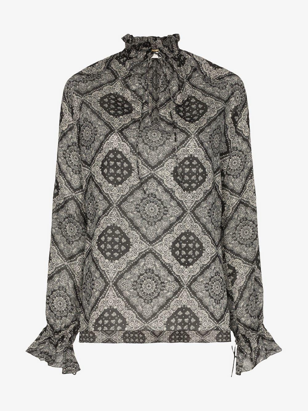 9003aeed2da093 Lyst - Saint Laurent Bandana Print Tie Neck Blouse in Black - Save 15%