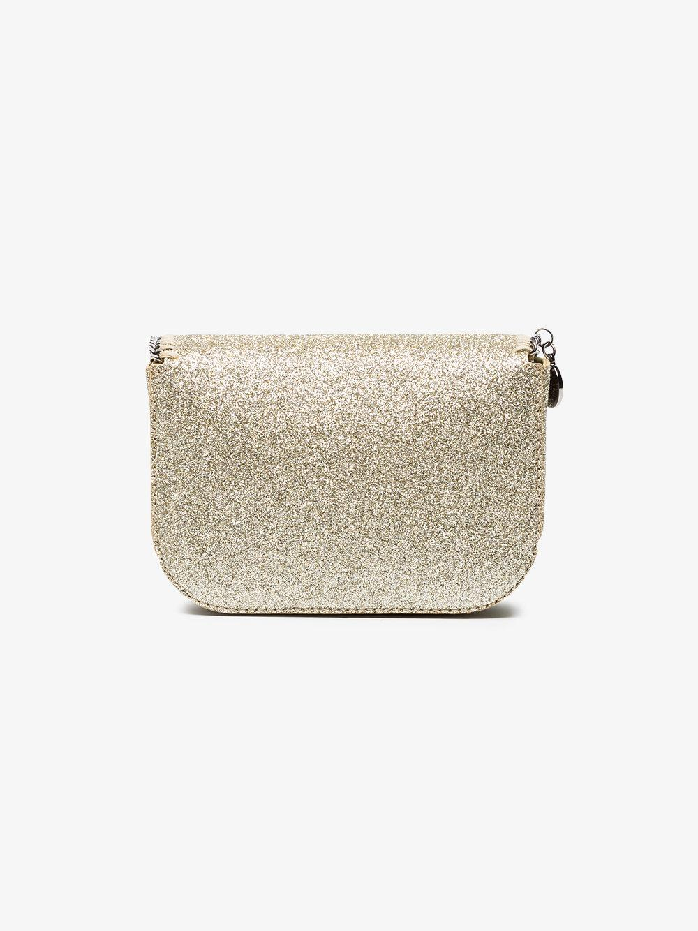 2d68e358fb Stella McCartney Metallic Gold Glitter Falabella Mini Cross Body Bag ...