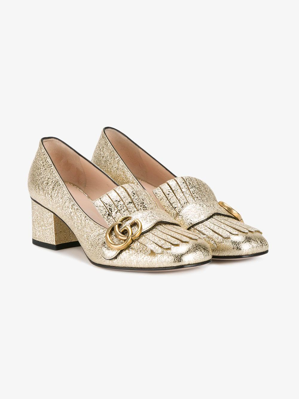 ec152b00dfd Gucci Marmont Leather Mid Heel Pumps in Metallic - Save 7% - Lyst