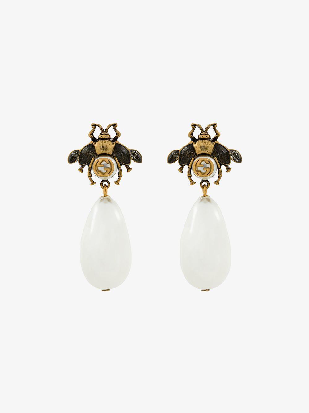 193aba8fe9b Gucci Bee Drop Faux Pearl Earrings in Metallic - Lyst