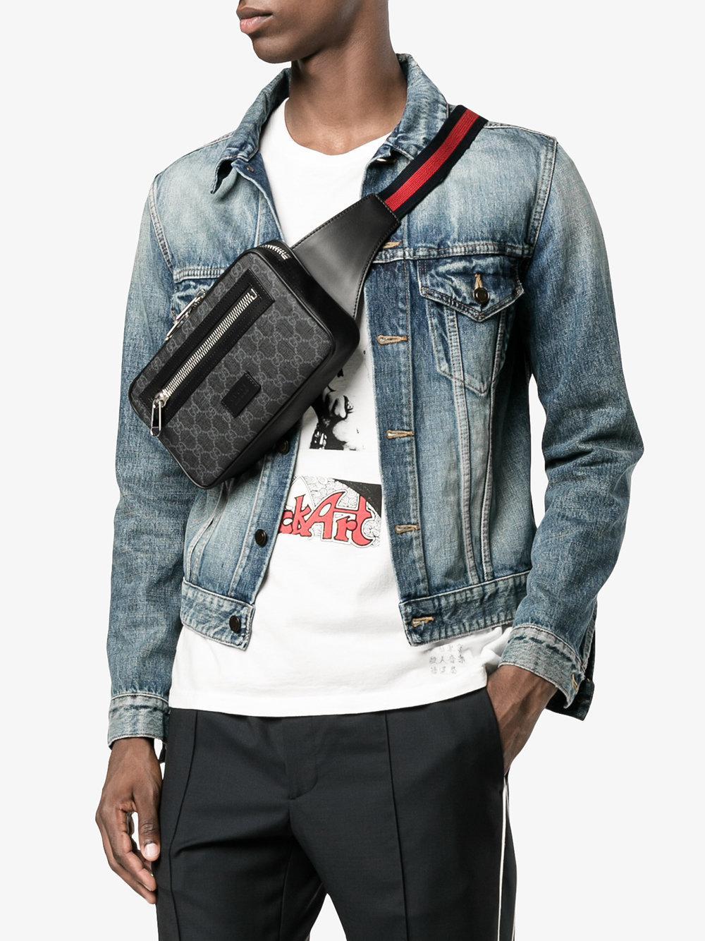 62a08f0df20 Gucci Gg Supreme Belt Bag in Black for Men - Lyst