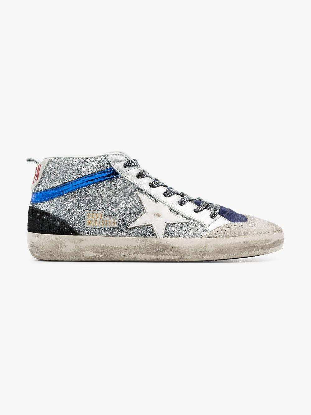 5902aea603e6 Golden Goose Deluxe Brand - Metallic Mid Star Glitter Embellished Hi-top Leather  Sneakers -. View fullscreen