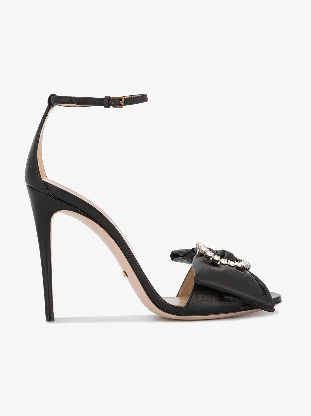 9c3c01d8f33d Gucci Black Leather Ilse Bow 115 Sandals in Black - Lyst