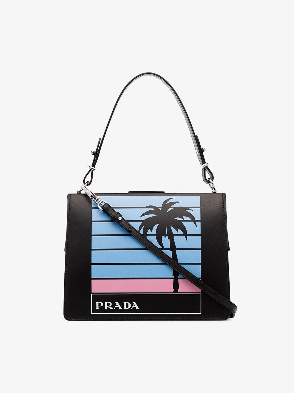 9b6734684f1b Lyst - Prada Black Light Frame Leather Bag in Black