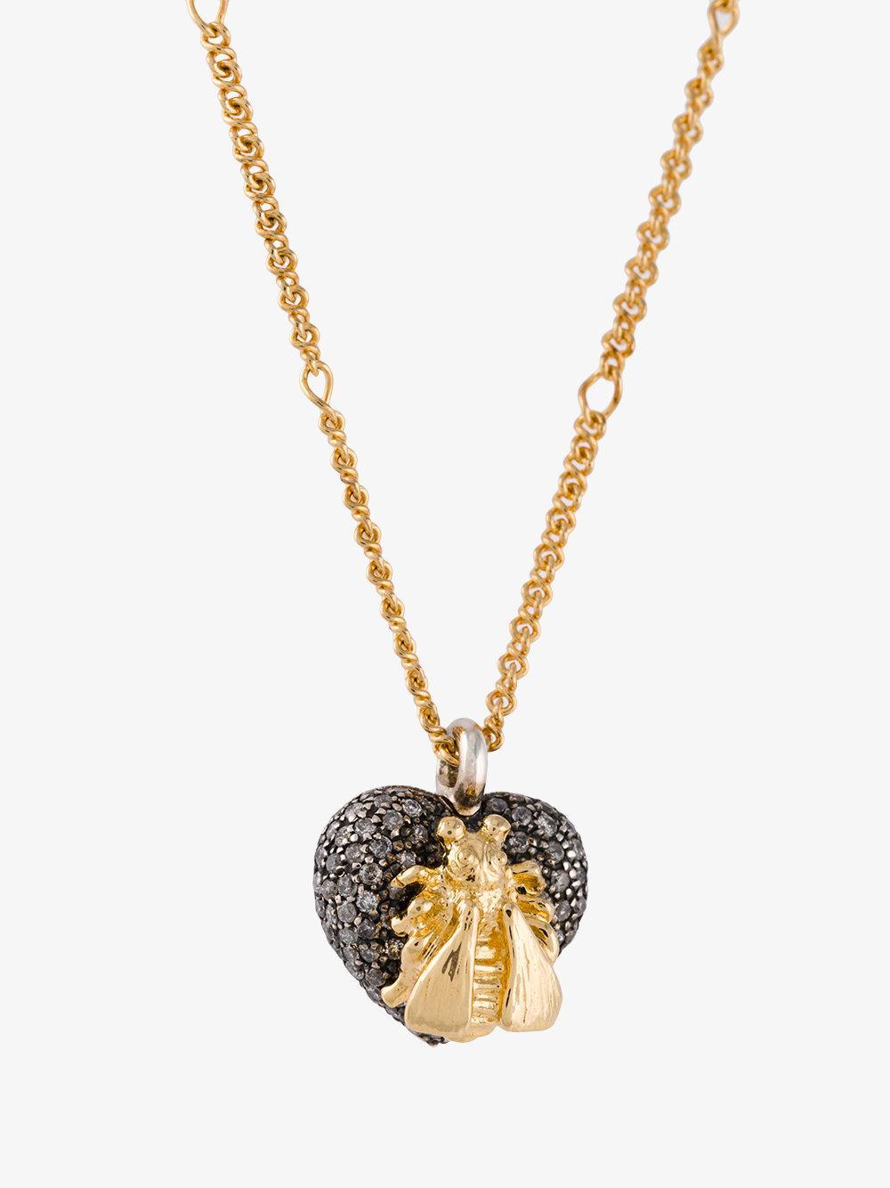 26d687358 Lyst - Gucci 18kt Gold Bee Le Marché Des Merveilles Necklace in Metallic