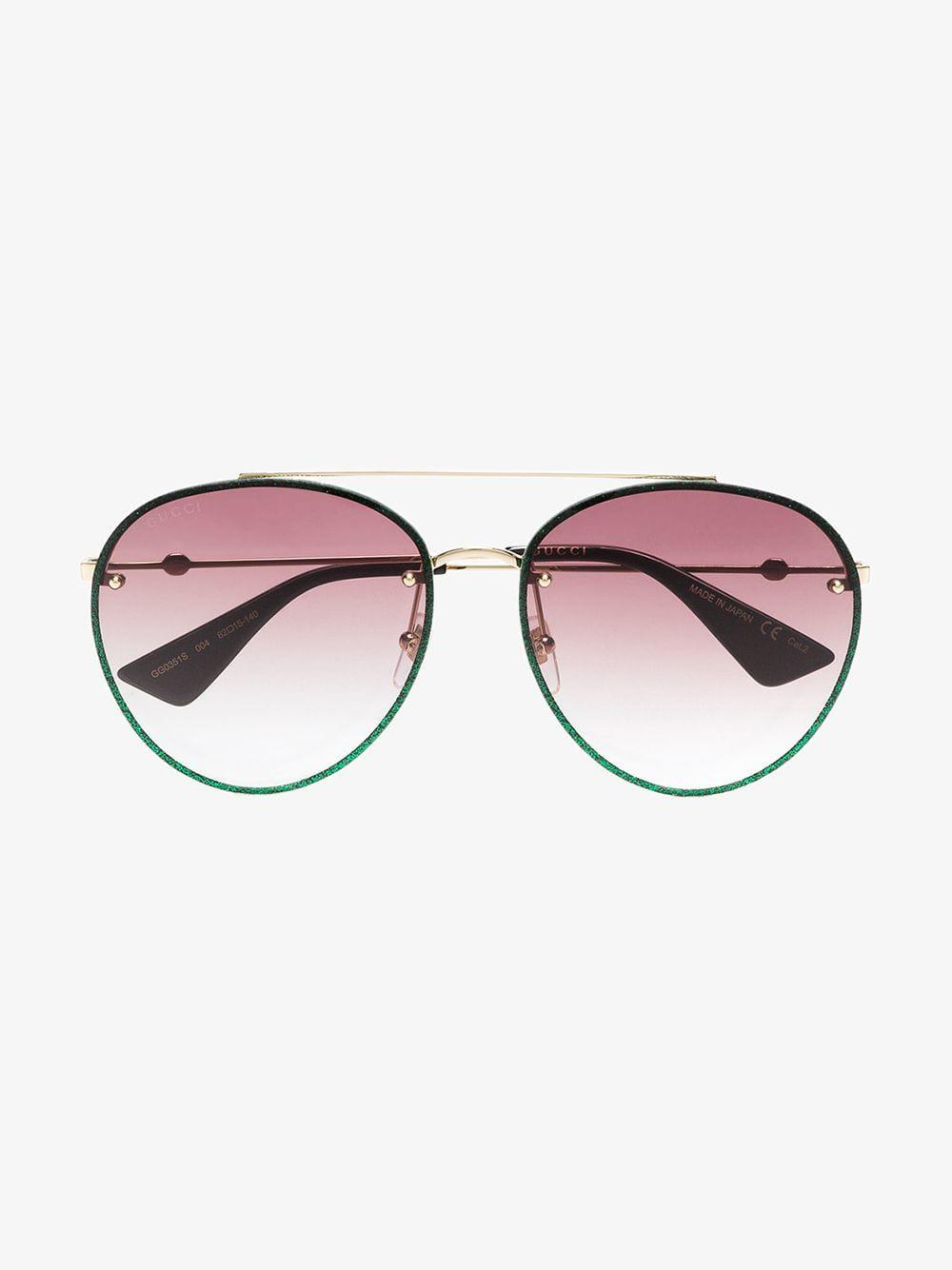 3cd1bb176b Gucci - Metallic Green Glitter Aviator Sunglasses - Lyst. View fullscreen