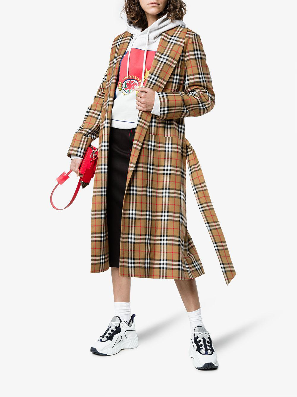 Lyst - Burberry Reissued Vintage Check Dressing Gown Coat
