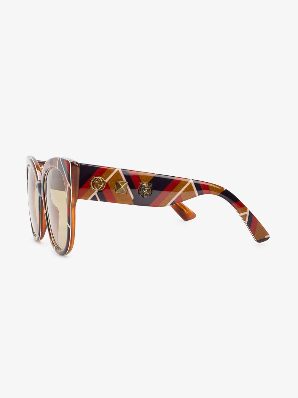 4c36aeedb34 Lyst - Gucci Ladies Brown Chevron Square-frame Sunglasses in Brown - Save 4%