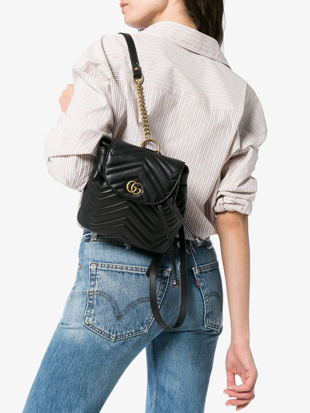 dbd10fb7f183 Gucci Black GG Marmont Matelassé Backpack in Black - Lyst
