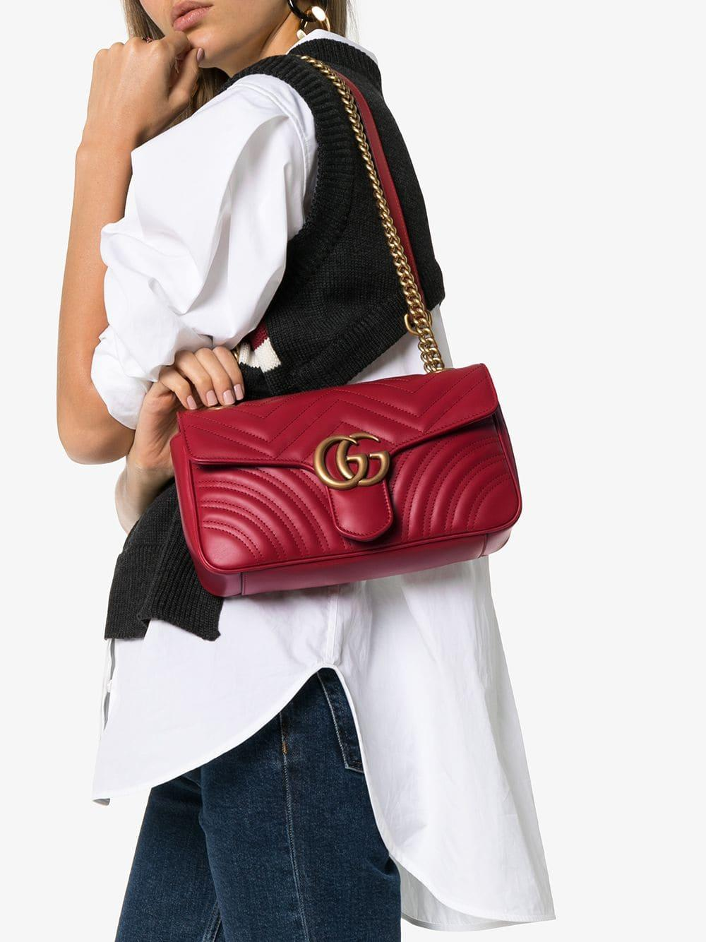67822d4842c Lyst - Gucci Red GG Marmont Small Leather Matelassé Shoulder Bag in Red