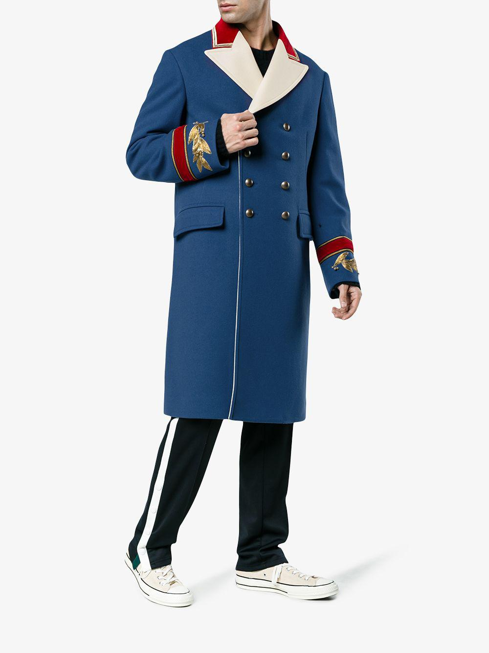 5c344bccb3e4 Lyst - Gucci Wool Cashmere Coat in Blue for Men