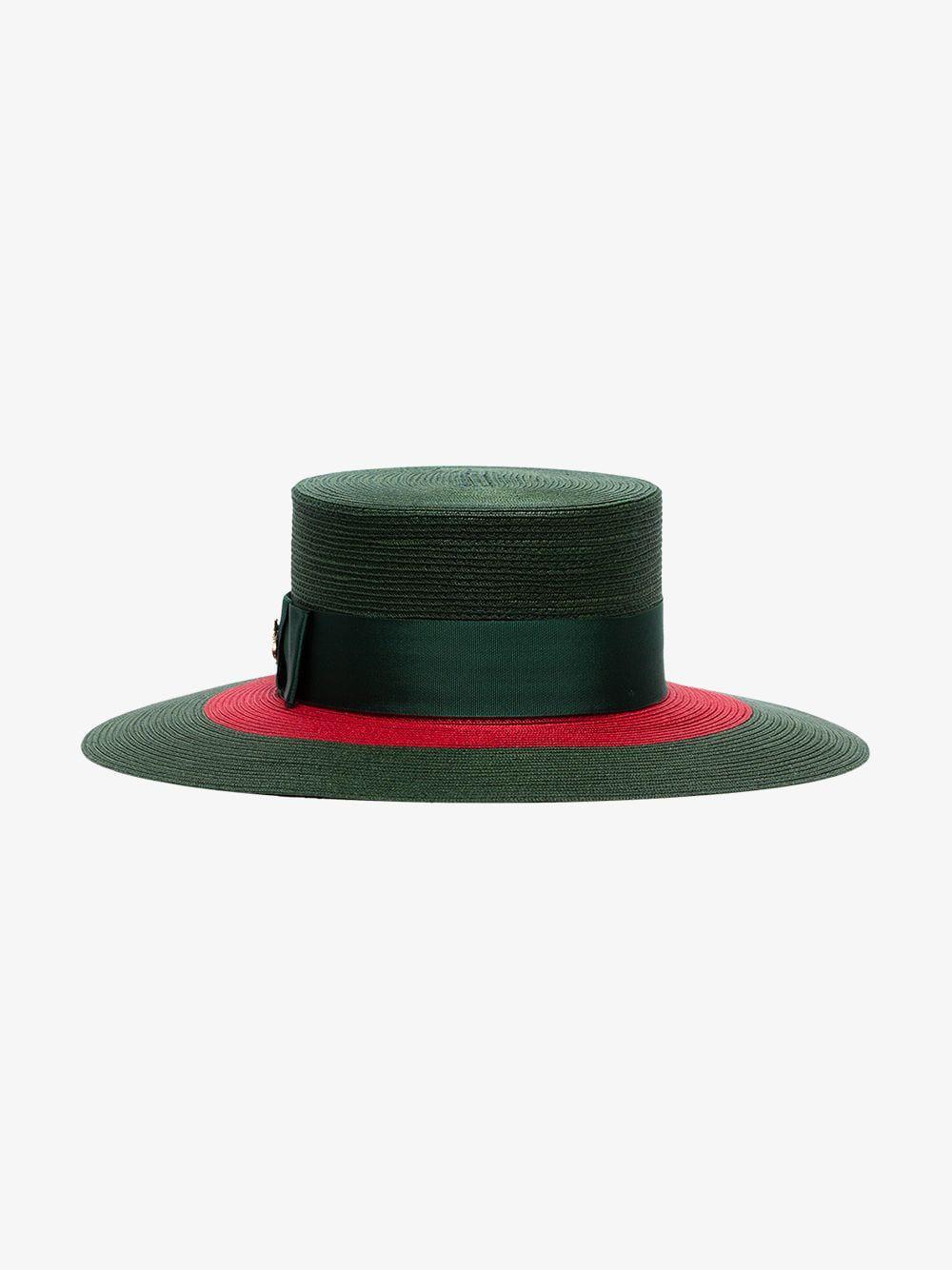 de49cd1aad7 Lyst - Gucci Gcci Grn Red Stripe Hat in Green
