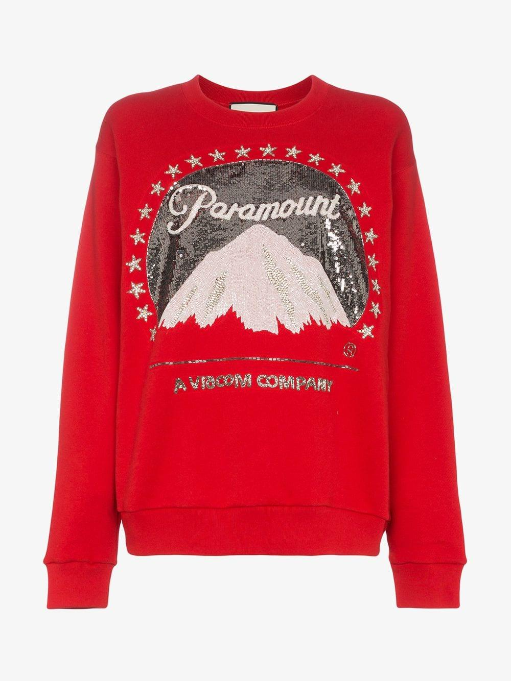 d59cb0d9fa Gucci Oversized Paramount Logo Sweatshirt in Red - Lyst