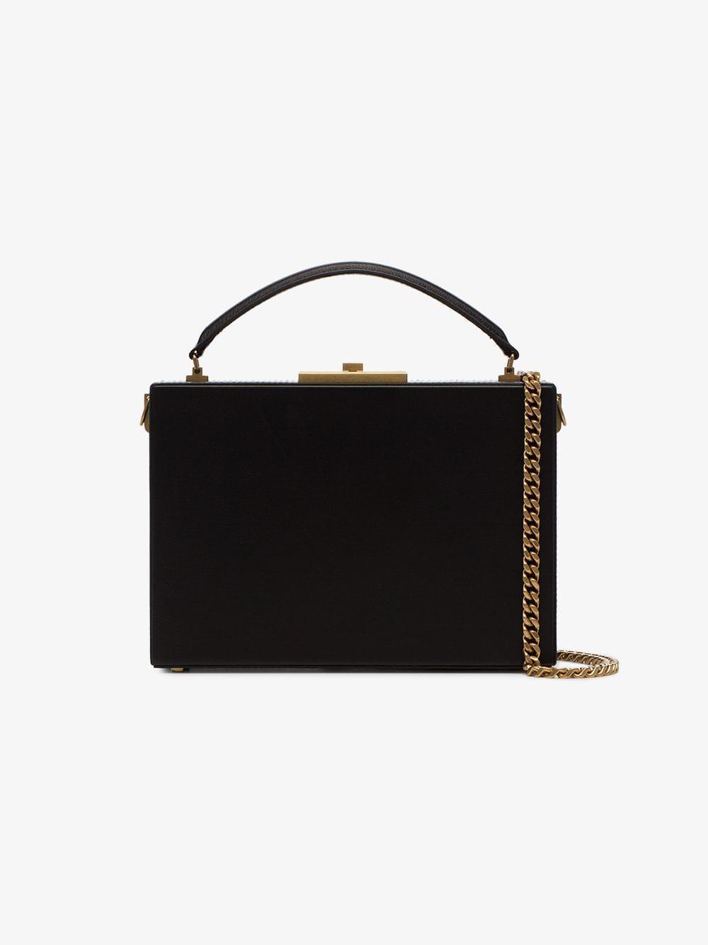 e1d6be29fe Lyst - Saint Laurent Black Nan Leather Box Bag in Black