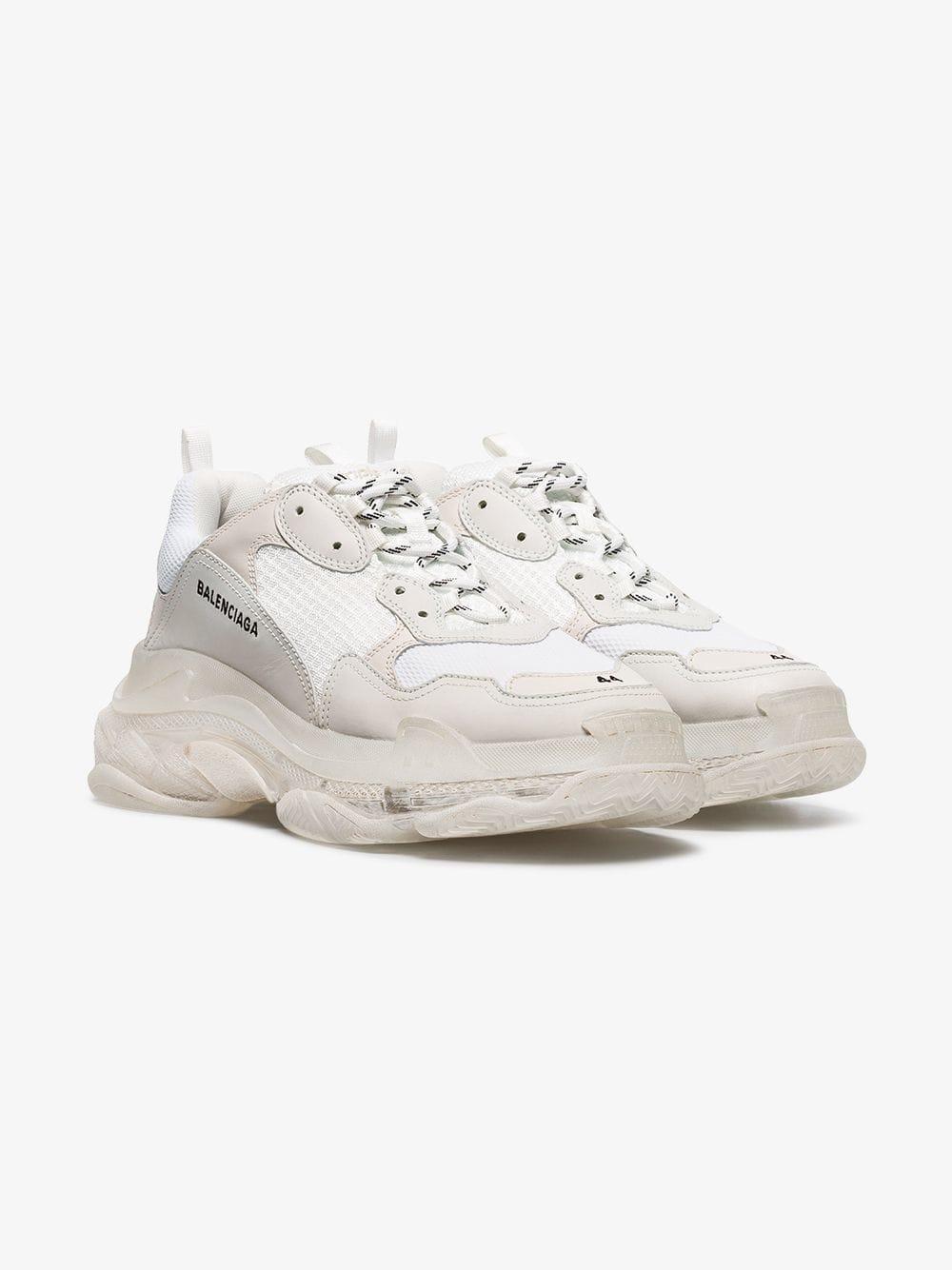 bd65b0425365c Balenciaga - White Triple S Clear Sole Sneakers for Men - Lyst. View  fullscreen